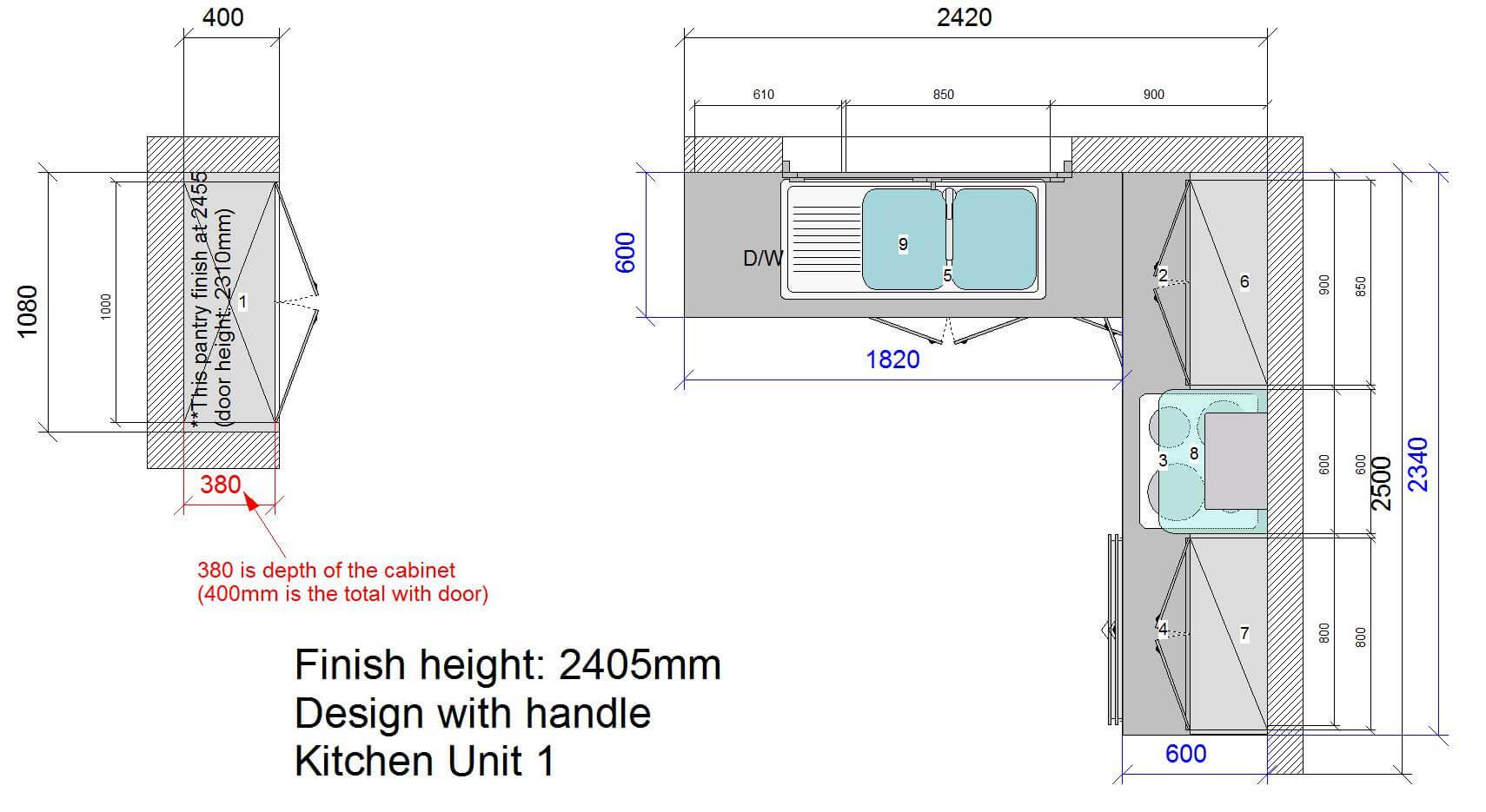 Kitchen U1 Floor Plan Stone