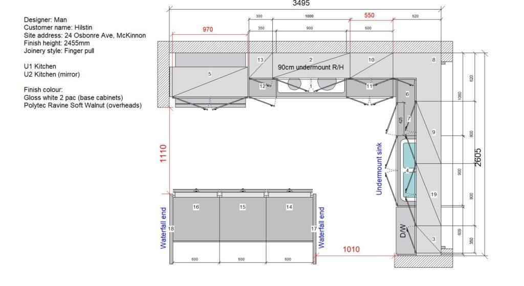 U1 & U2 Kitchen Floor Plan