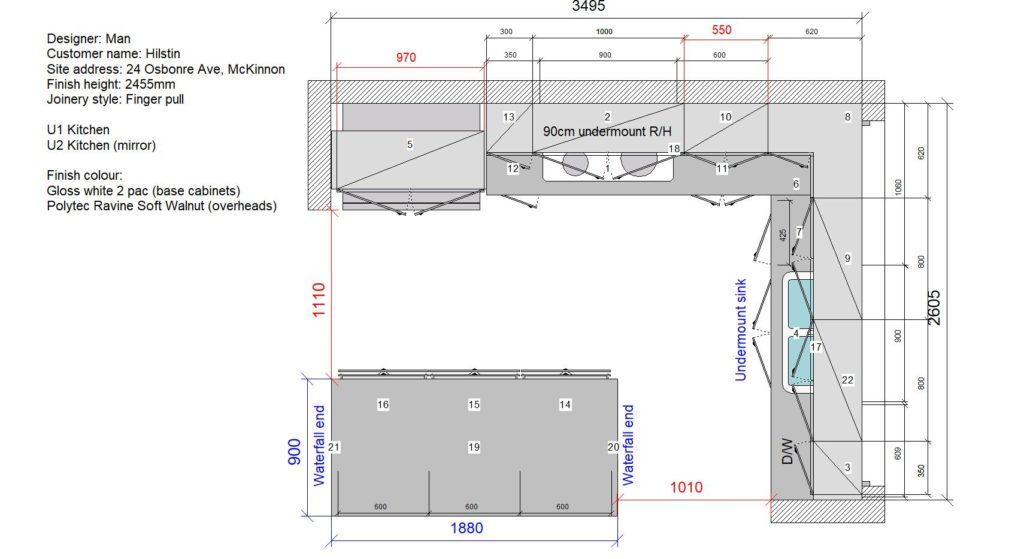 U1 & U2 Kitchen Floor Plan Stone